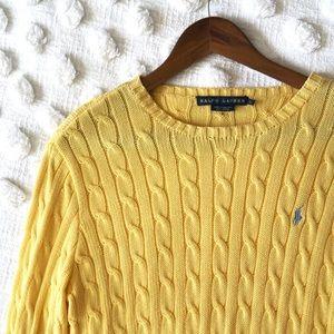 Ralph Lauren Yellow Knit Crew Neck Sweater!
